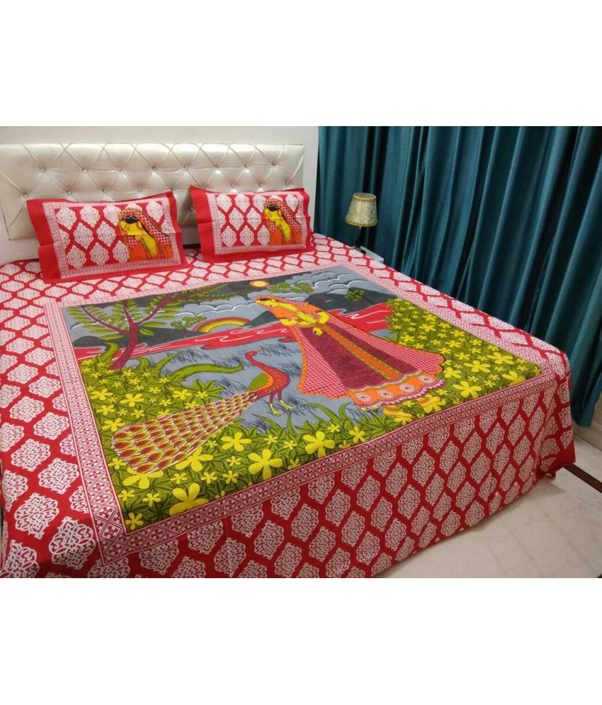 Bestdeal Double Cotton Multicolor Ethnic Bed Sheet