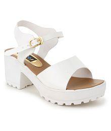 Sapatos White Block Heels