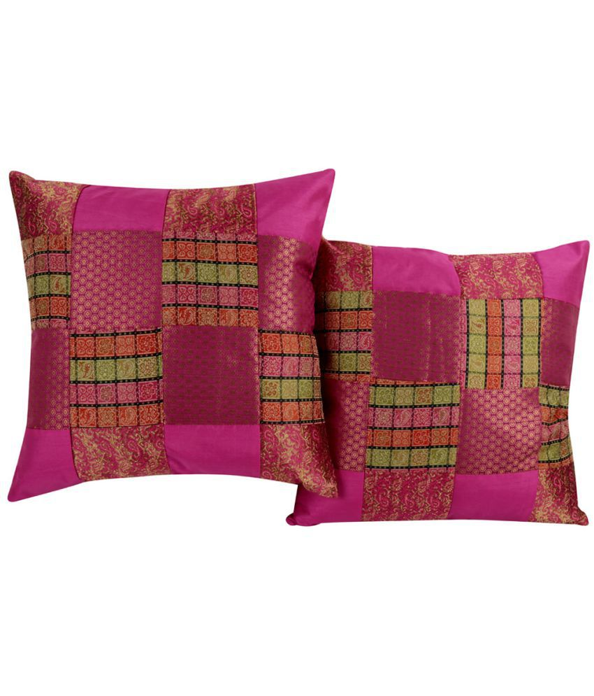 Rajrang Set of 2 Poly Dupion Cushion Covers 40X40 cm (16X16)