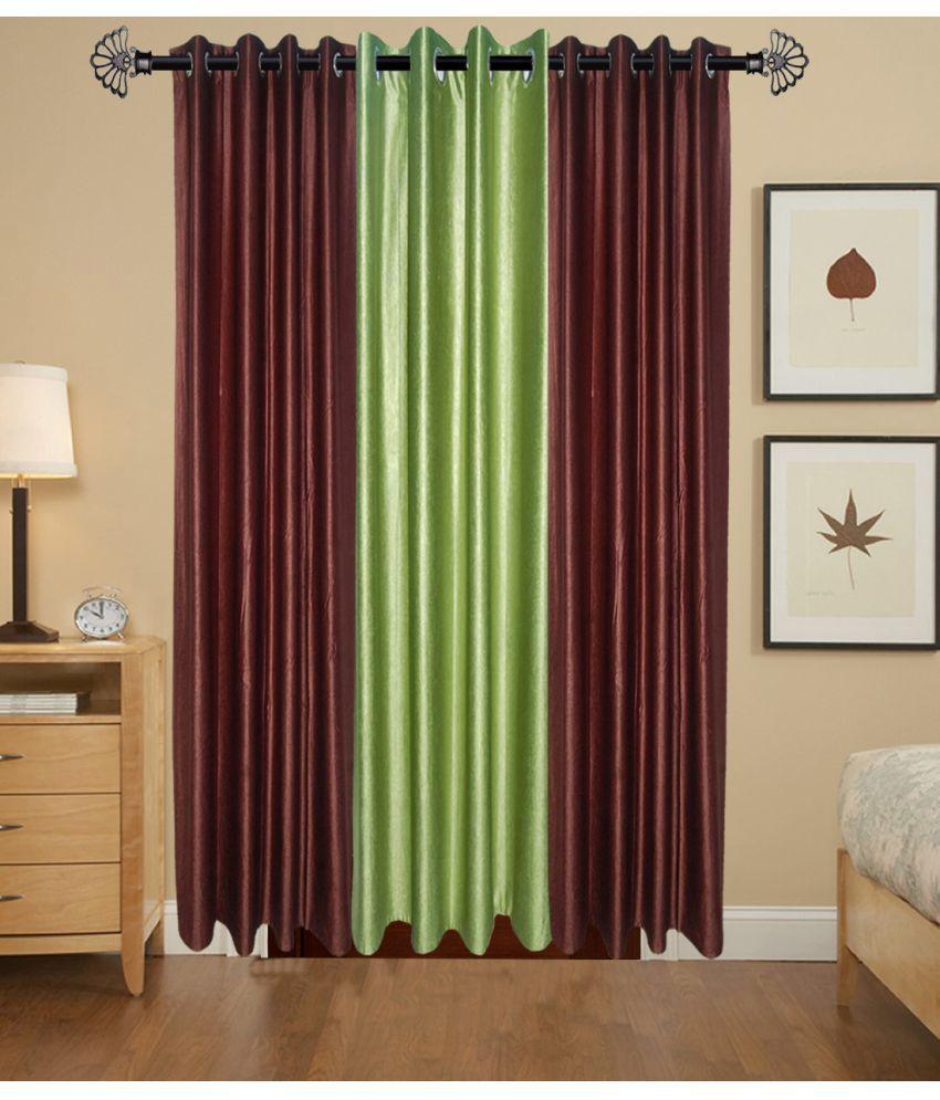 Akshaan Texo Fab Set of 3 Window Ring Rod Curtains Plain Multi Color