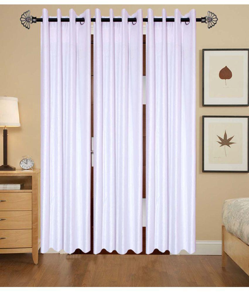 Akshaan Texo Fab Set of 3 Window Eyelet Curtains Plain White