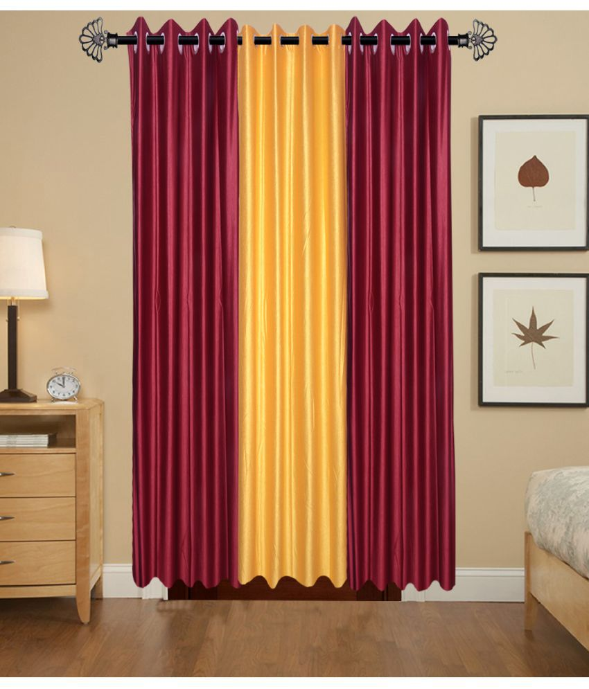 Akshaan Texo Fab Set of 3 Door Ring Rod Curtains Plain Multi Color