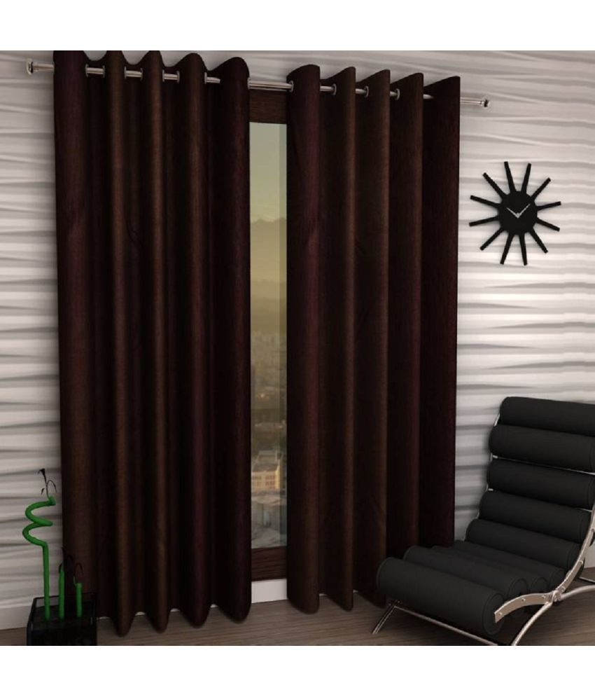 Tanishka Fabs Set of 2 Door Eyelet Curtains Solid Brown
