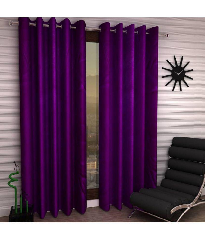 Tanishka Fabs Set of 2 Door Eyelet Curtains Plain Purple