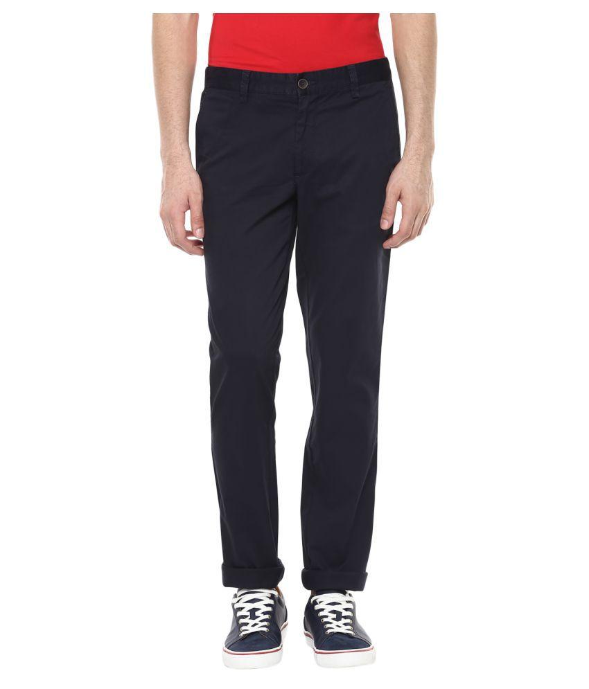 London Bridge Blue Slim -Fit Flat Trousers