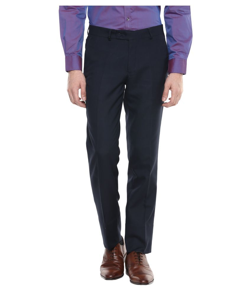 London Bridge Blue Slim -Fit Flat Trousers
