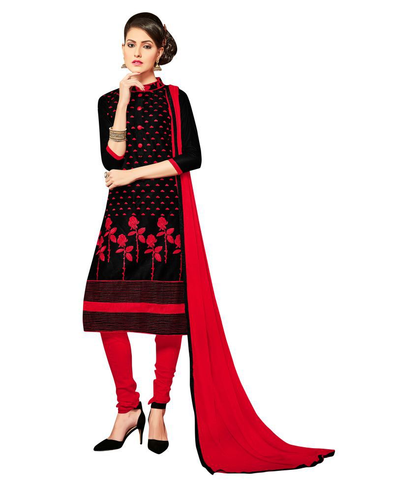 Maroosh Red and Brown Cotton blend Straight Semi-Stitched Suit