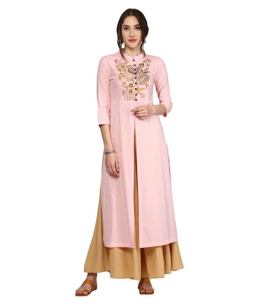 Sassafras Pink Cotton Straight Kurti
