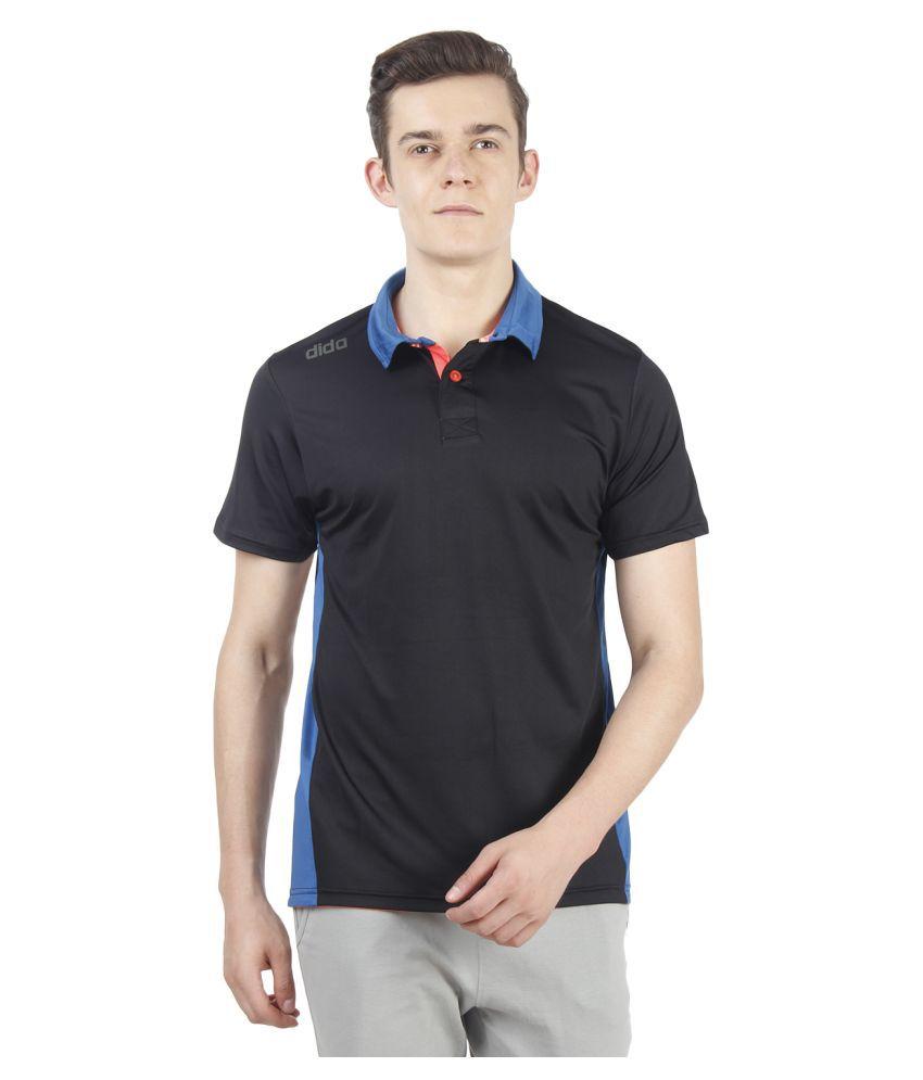 Dida Sportswear Black Polyester Lycra Polo T-Shirt