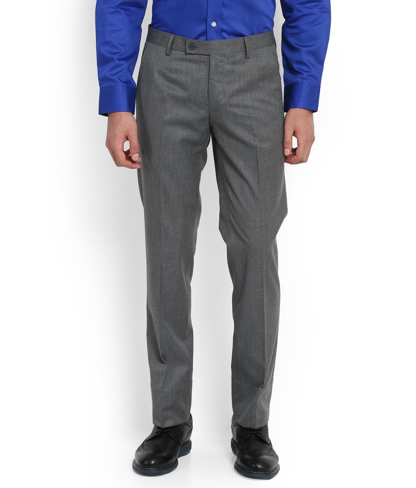 Arrow Grey Slim -Fit Flat Trousers