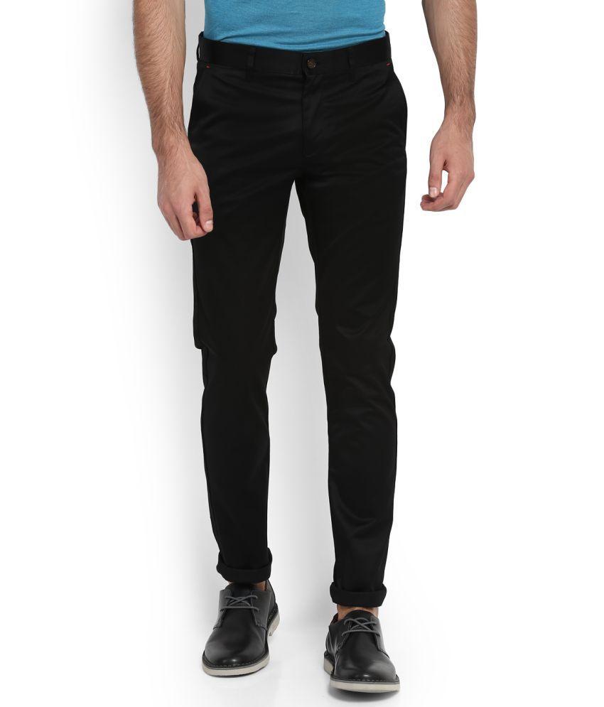 Arrow Sports Black Slim -Fit Flat Chinos
