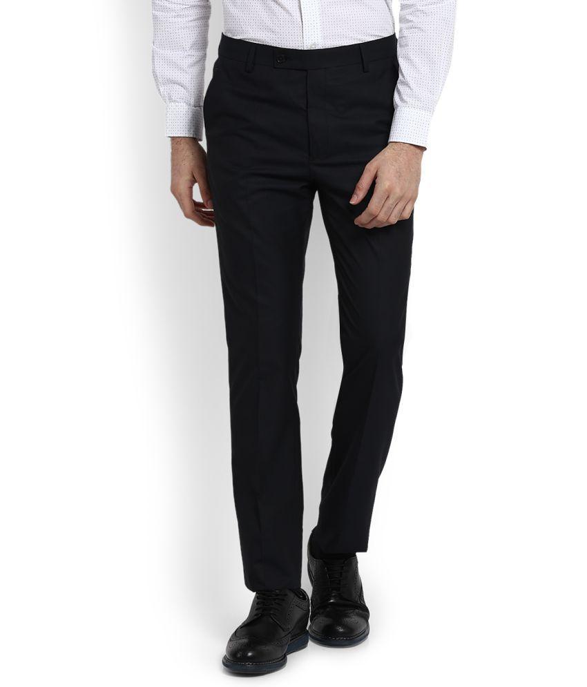 Arrow Blue Slim -Fit Flat Trousers