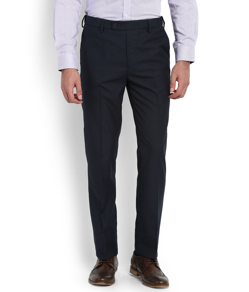 Arrow Navy Blue Tapered -Fit Flat Trousers