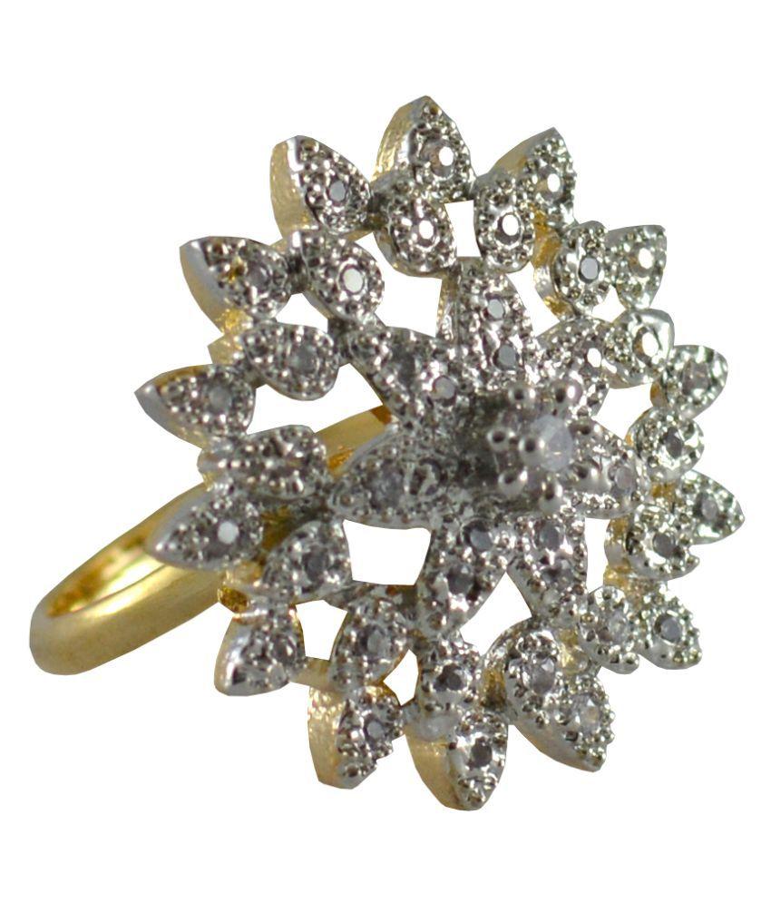 Plain White CZ stone Alloy AD Ring