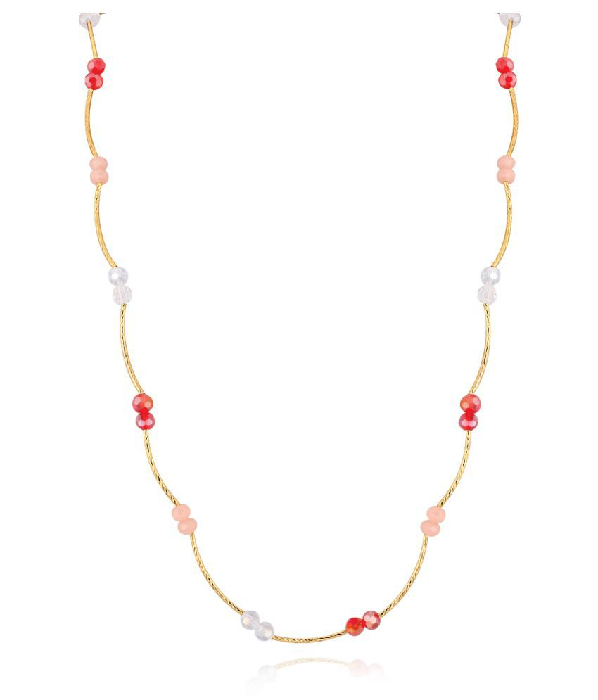 Spargz Gold Plated Party Wear Multicolor Beads Ball Long Mala Necklace For Women ALML_5005