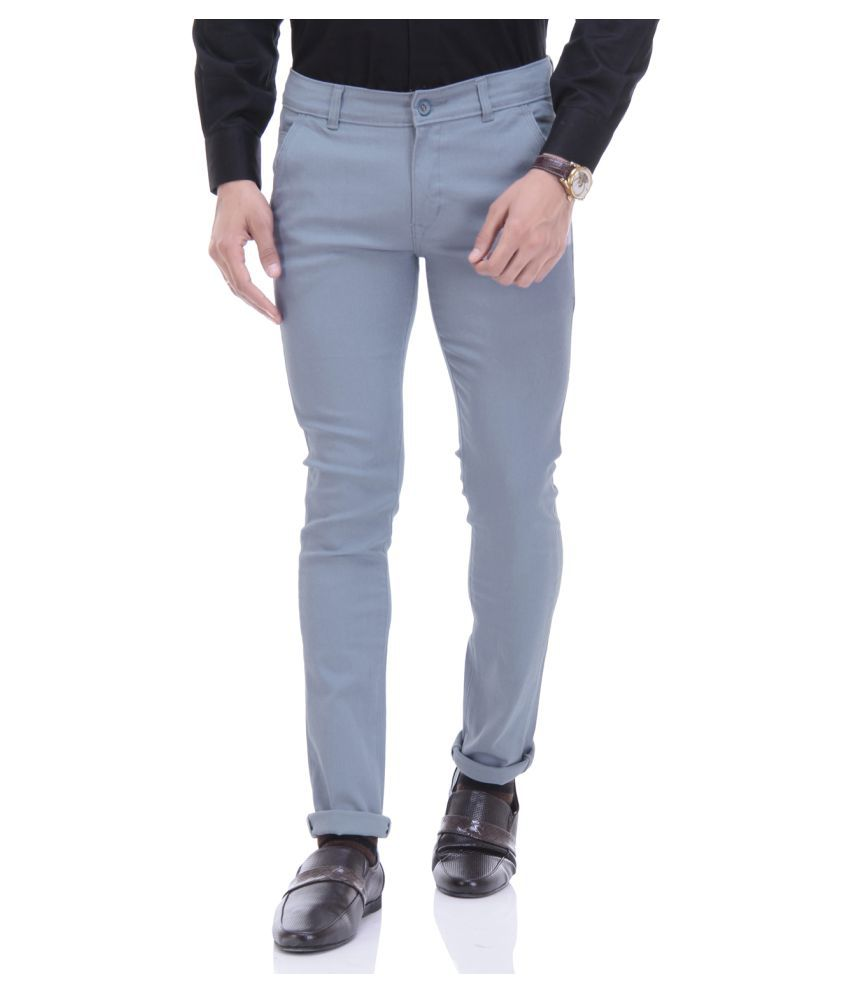 TAG 7 Grey Slim -Fit Flat Chinos