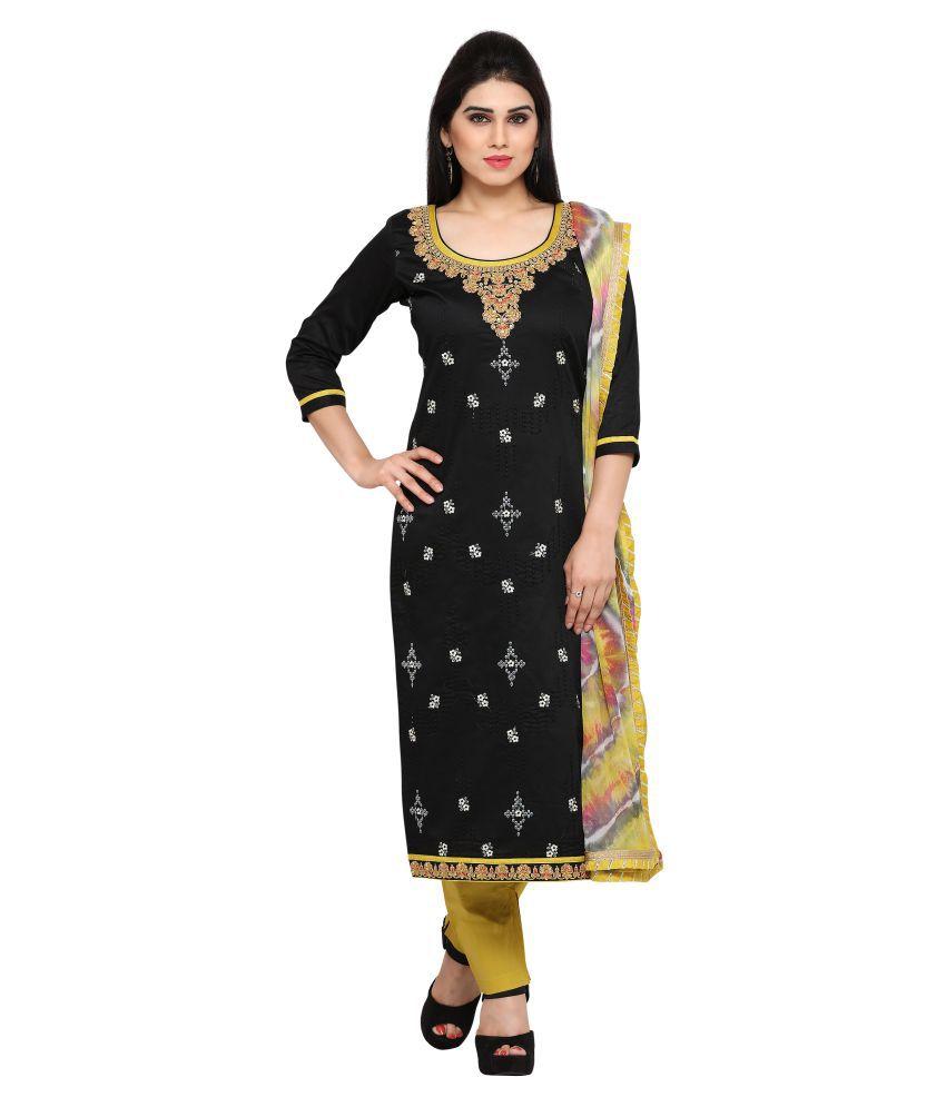 Patiala House Black Cotton Dress Material