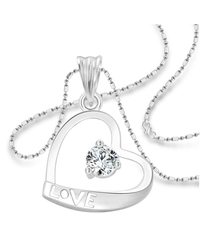 Vighnaharta Valentine Solitaire LOVE Heart CZ Rhodium Plated Alloy Pendant  With Chain For Girls ...