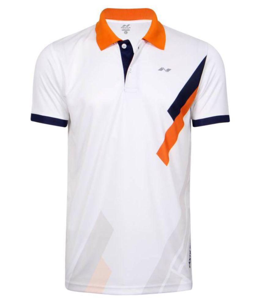 Nivia White Polyester Polo T-Shirt-2556s1