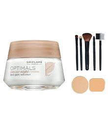 Oriflame Oriflame Optimals Even Out Night Cream - 50 Gm With Make Up Brush Set (5 Pcs) & Puff Set (2 Pcs.) Facial Kit Gm