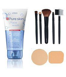 Oriflame Oriflame Pure Skin Face Wash 150ml With Make Up Brush Set (5 Pcs) & Puff Set (2 Pcs.) Facial Kit Gm