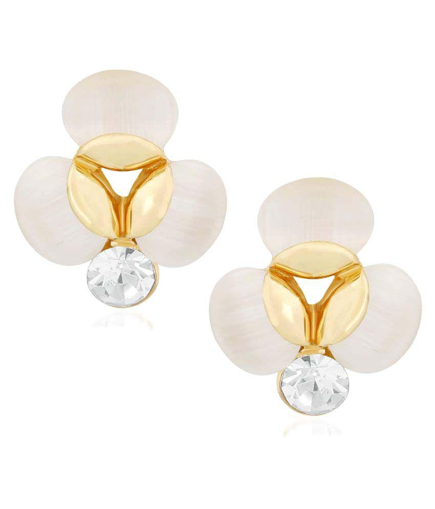 VShine Gold Plated Flower Single Stone Stud Earring for Girs & Women - VSERG1285