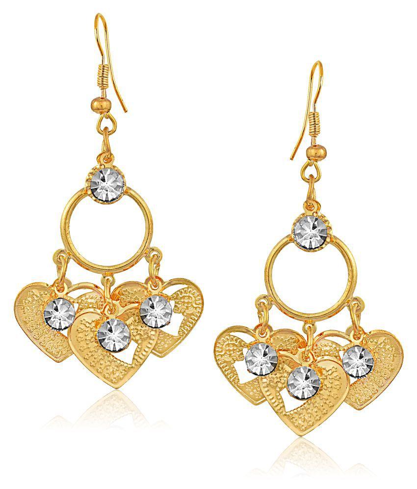 VShine Gold Plated Fascinating Heart Drop Earring for Girs & Women - VSERG1138