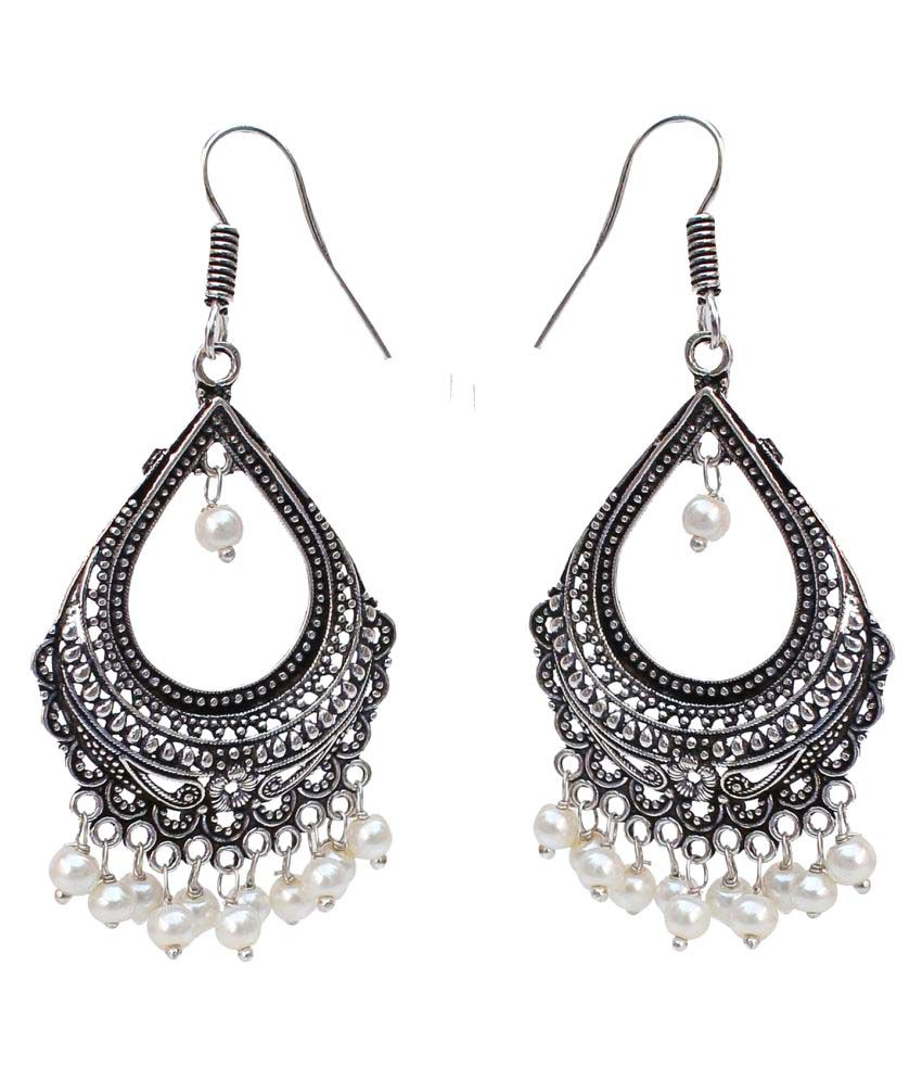 Lucky jewellery Designer Jaipuri  Black Metal Silver Oxidised White Earring White Silver in color  sutiable for all girls ladies and women best in casual wear Earring