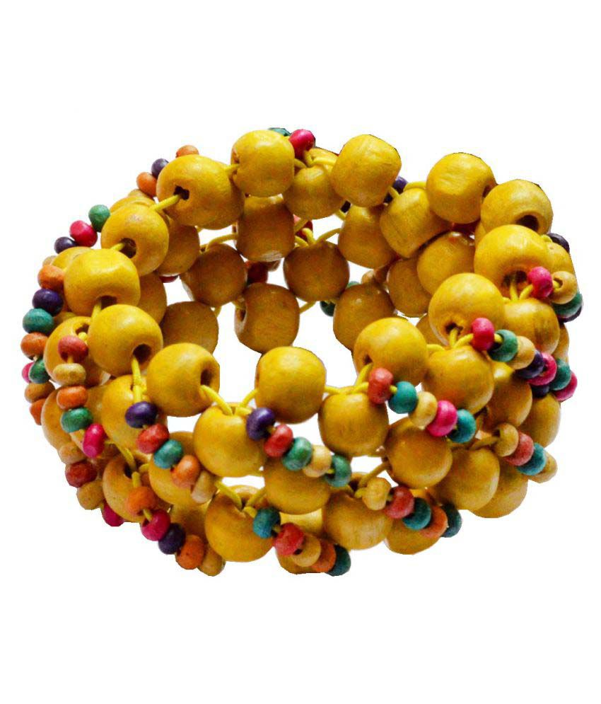 Shiv jagdamba Seed Beaded FriendshipStretch  35mm Width And 160mm Length Wood  Bracelet For Men and Boys