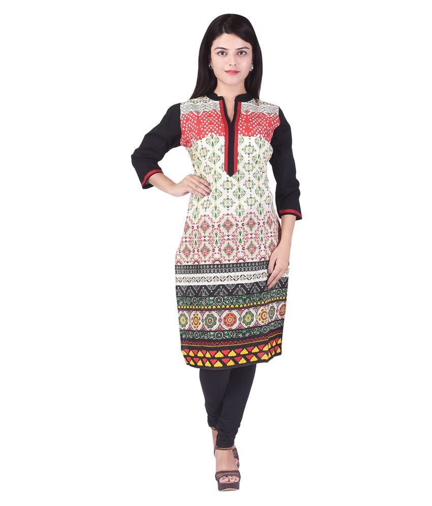 Bon Temps Multicoloured Cotton Straight Kurti
