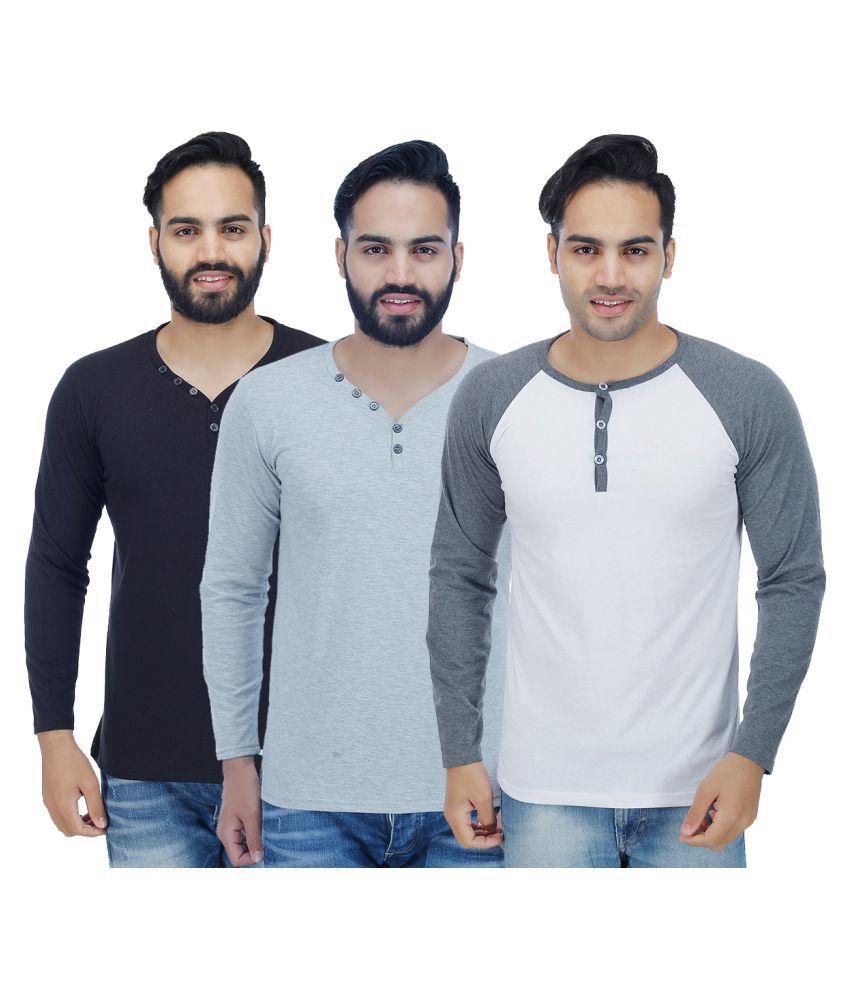 Christy World Multi Henley T-Shirt Pack of 3