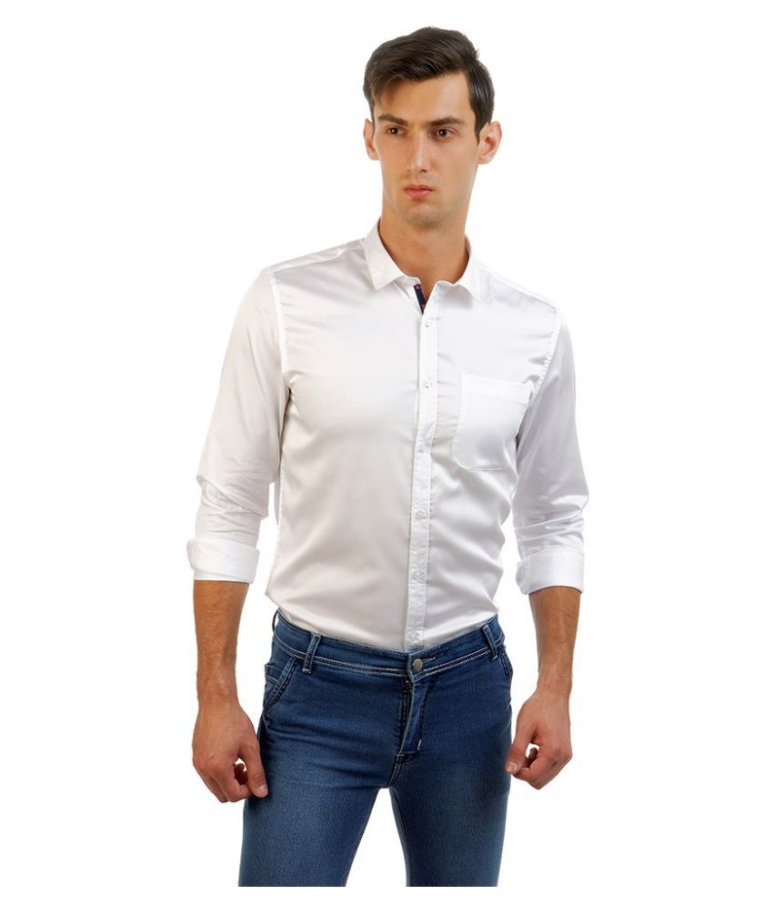 Four One Oh White Casual Slim Fit Shirt