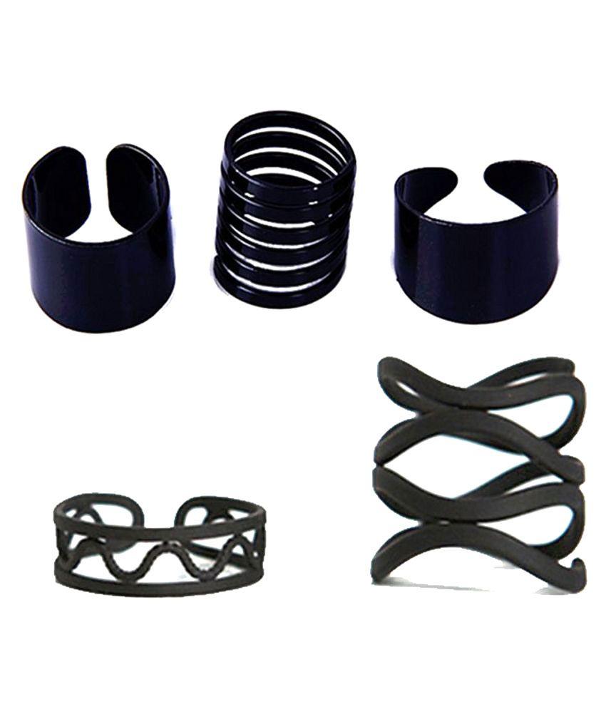 Designer Midi Rings   Chooz Designer Studio Big Boss Bani Style Banded Ring Black Ring Set