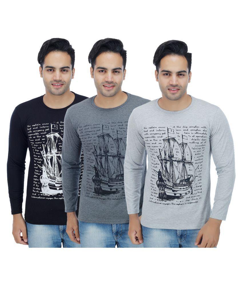 Rakshita's Collection Multi Round T-Shirt Pack of 3