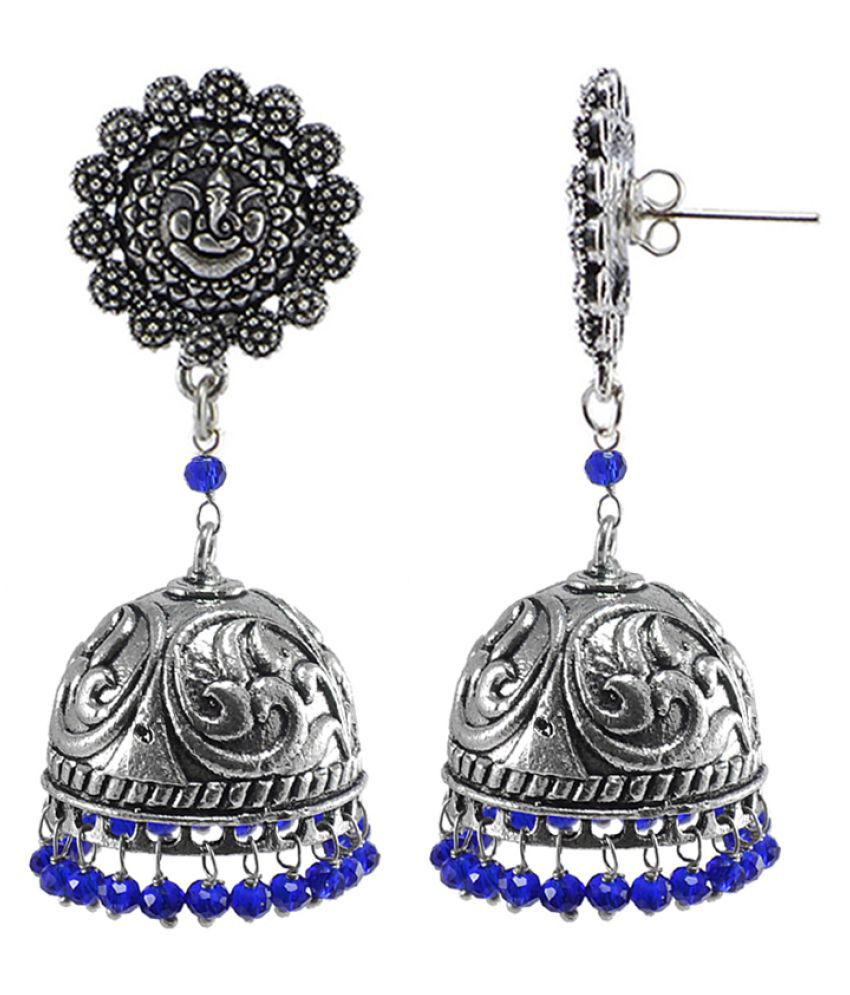 Silvesto India Antiquated Black Metal Ganesha Jhumki Earrings With Tiny Blue Crystals PG-108054