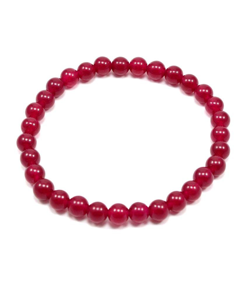 Silvestoo India Red Quartz Gemstone Stretchable Bracelet PG-107718