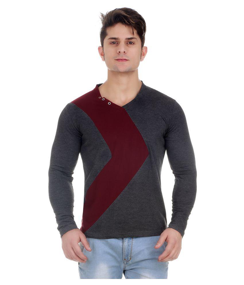 Zcell Grey V-Neck T-Shirt