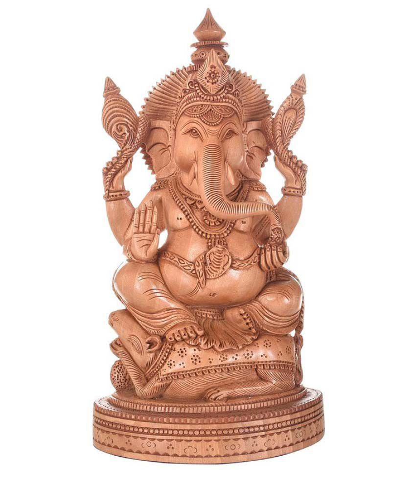 Artistic Handicrafts Ganesha Wood Idol