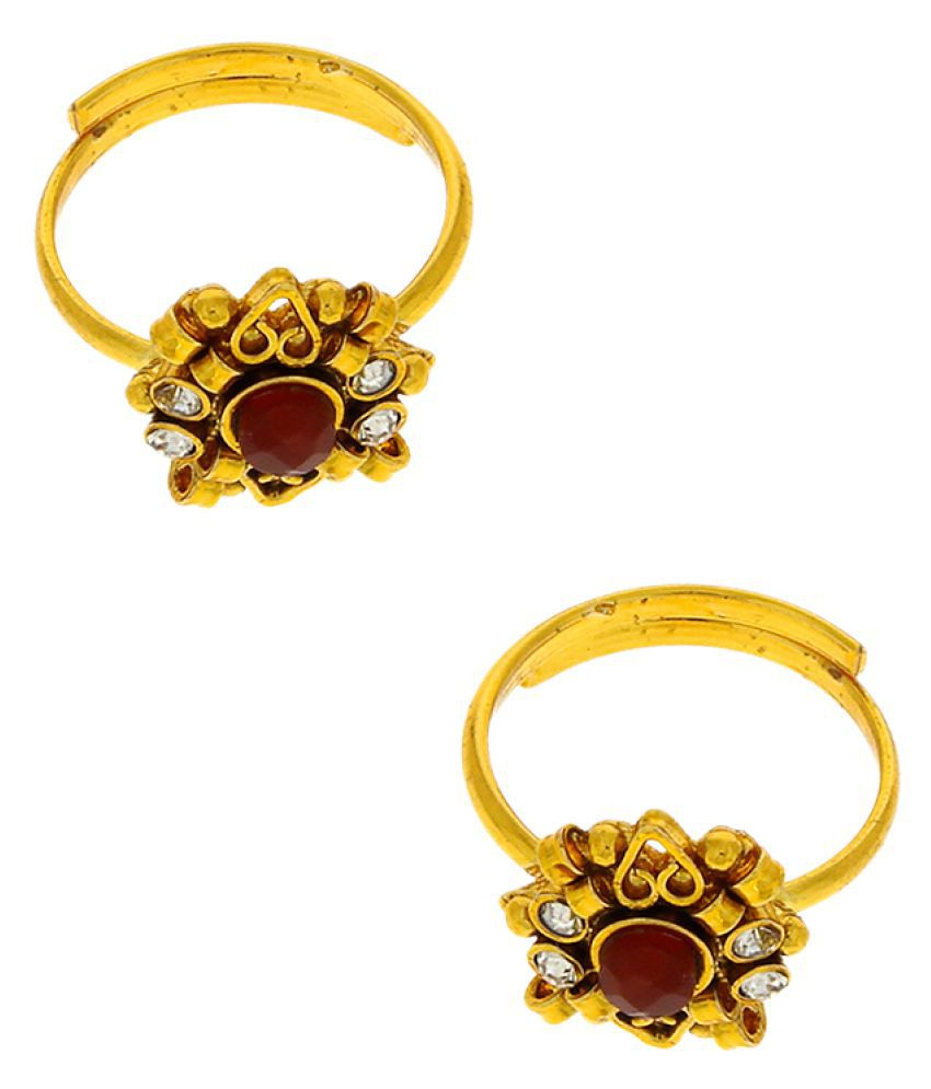Anuradha Art Unique in Design Add Extra Styled With Stone Toe Ring For Women