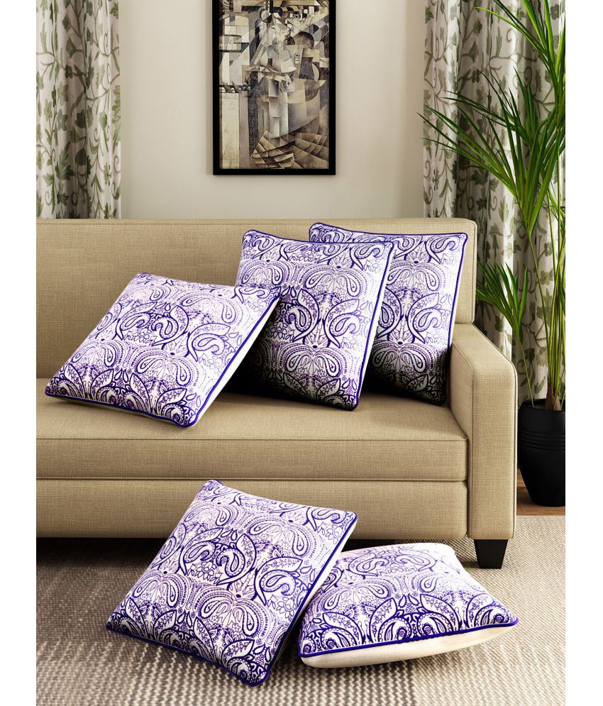Romee Set of 5 Cotton Cushion Covers 40X40 cm (16X16)