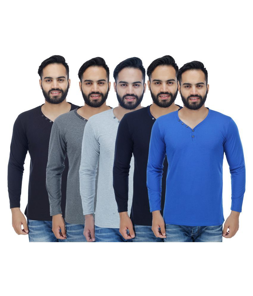 Rakshita's Collection Multi Henley T-Shirt Pack of 5