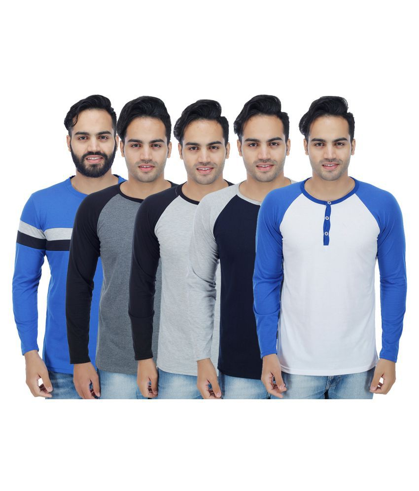 Candy House Multi Henley T-Shirt Pack of 5