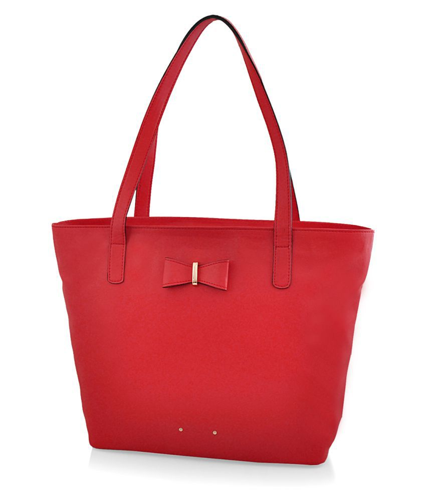 Steller Red Faux Leather Shoulder Bag