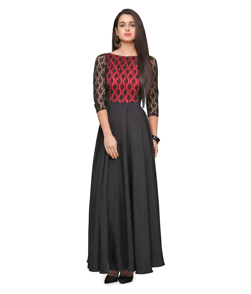 apex apparels Black Crepe Anarkali Gown Stitched Suit