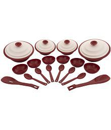 Cutting Edge Microwave Heat-Serve-Store Set, 18 Piece, Blossom Red