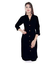 Marino Wools Black Cotton Front Slit Kurti