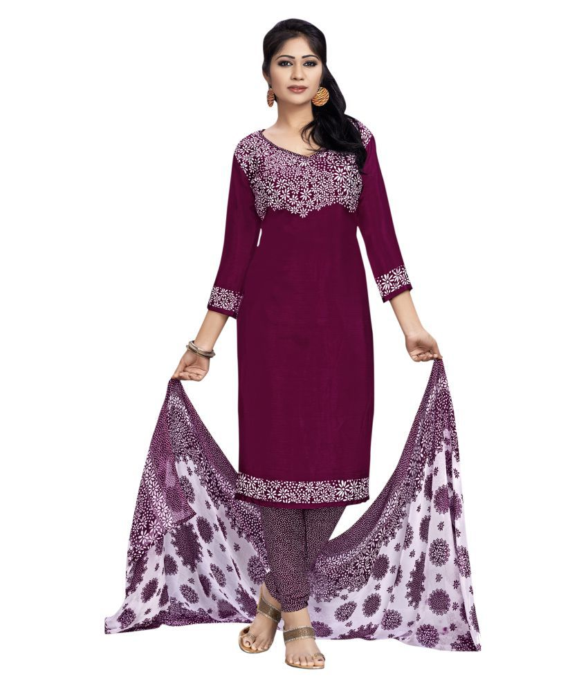 Manvaa Purple Chiffon Dress Material