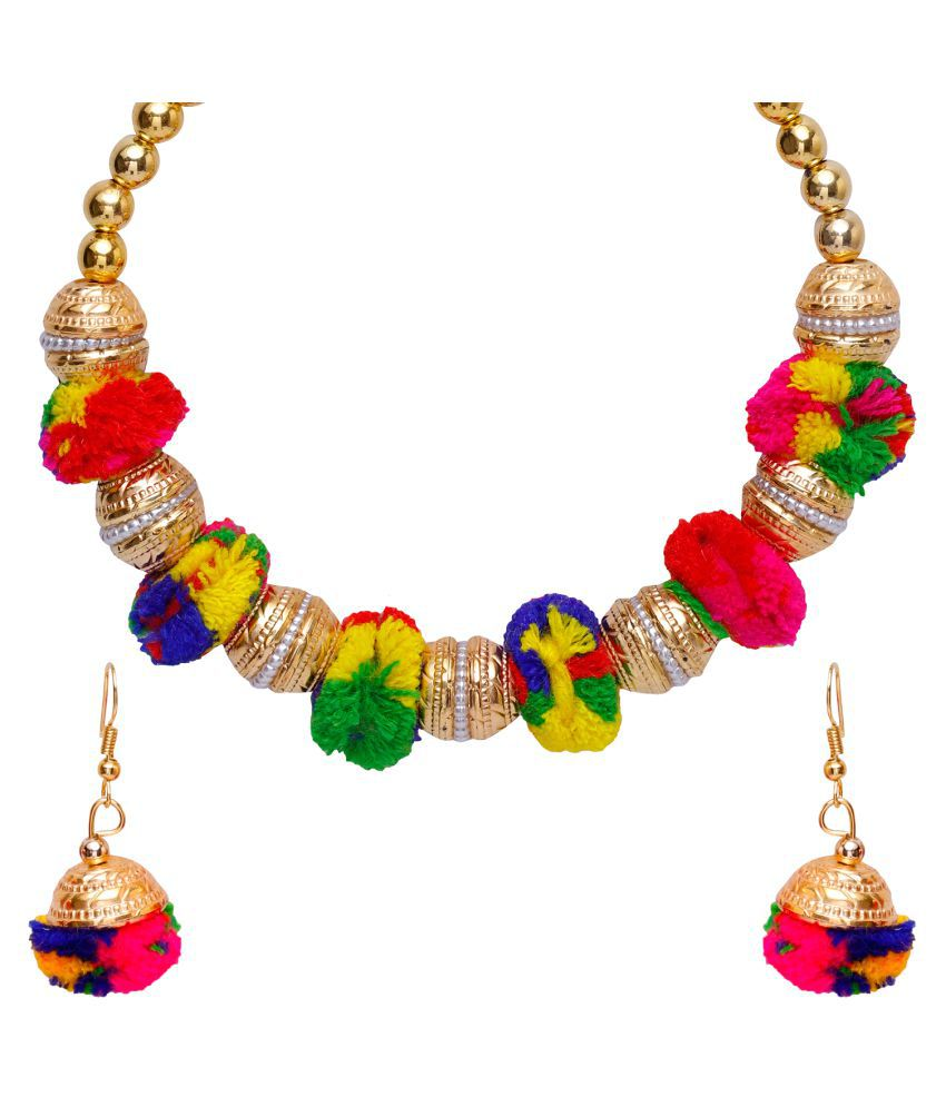 Jewels Gold Alloy Latest Designer Pom Pom Necklace With Earring Set For Women & Girls