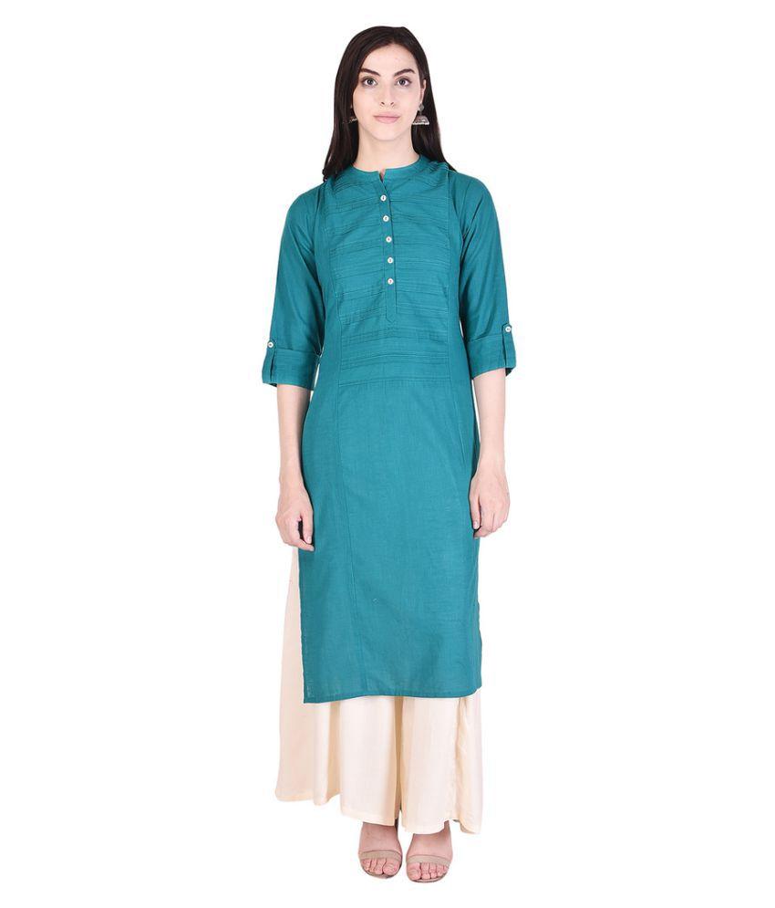 Kanika Fashion Turquoise Cotton Straight Stitched Suit