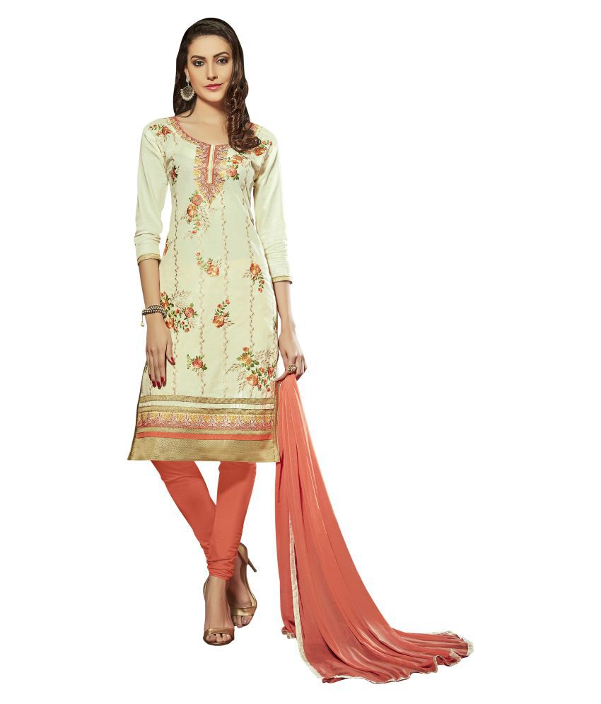 Maroosh White and Beige Cotton Blend Straight Semi-Stitched Suit